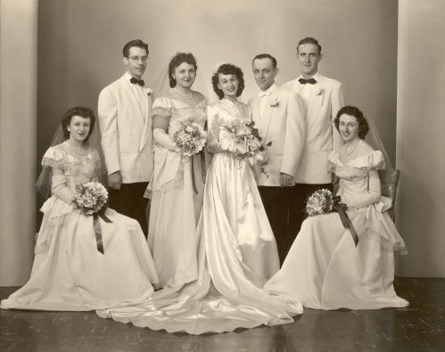 Left to right: Patricia Labuda (later Sr. Maristella), John Malone, Bea Berbach, Victoria & Frank Duntemann, William Mark, and Kathleen Duntemann