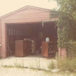 1969: Jeff's garage on Clarence Avenue, full of broken TVs.
