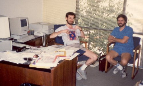 Keith Weiskamp (L) and Loren Heiny at the Gray Road offices of The Coriolis Group, February 1990